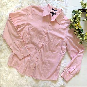 Land's end   Pink button up long sleeve shirt